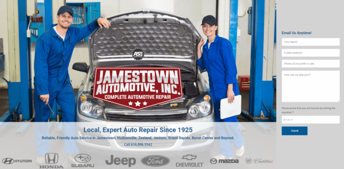 Jamestown automotive - Small Business Website by Purple Gen