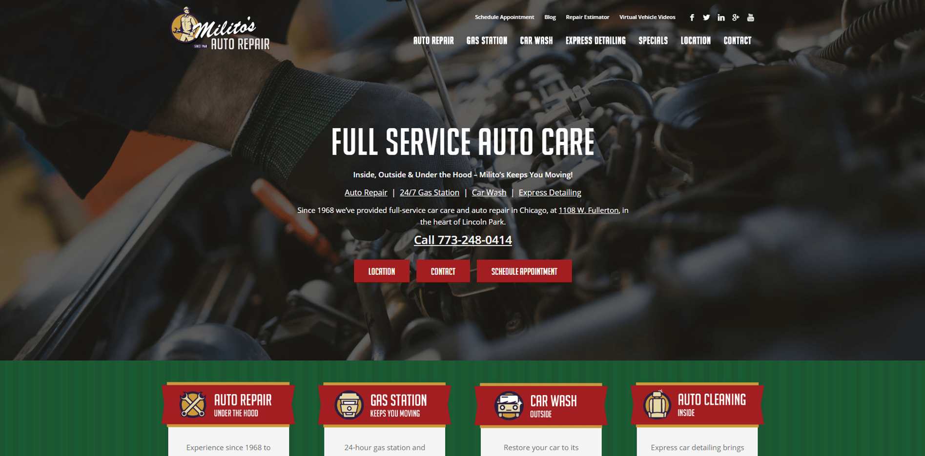 Militos Auto Repair - Small Business Website SEO and Paid Search Management by Purple Gen