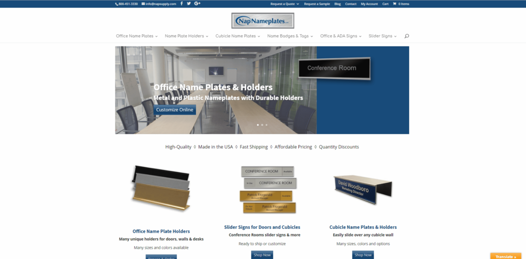 Nap Nameplates - Small Business Website by Purple Gen