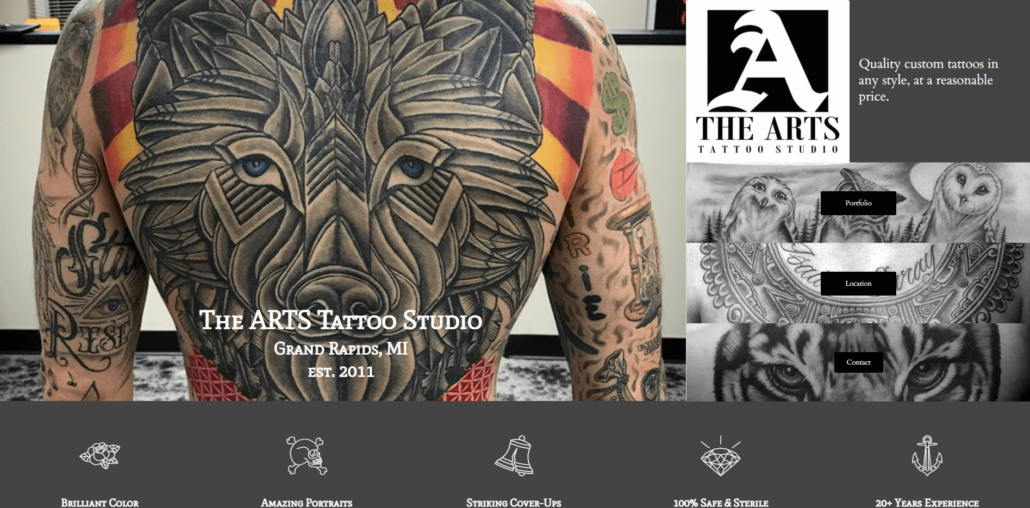 The ARTS Tattoo Studio - Small Business Website by Purple Gen