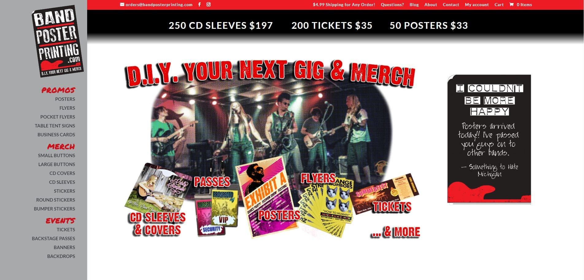 Band Poster Printing Website Design by Purple Gen - Purple-Gen.com