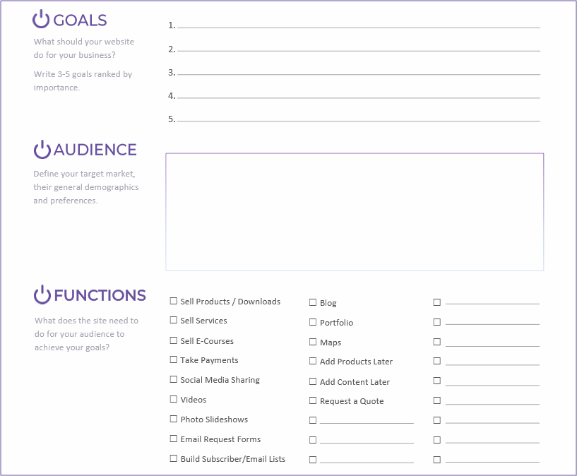 A Guide to Planning a New Website Printable - Purple-Gen.com