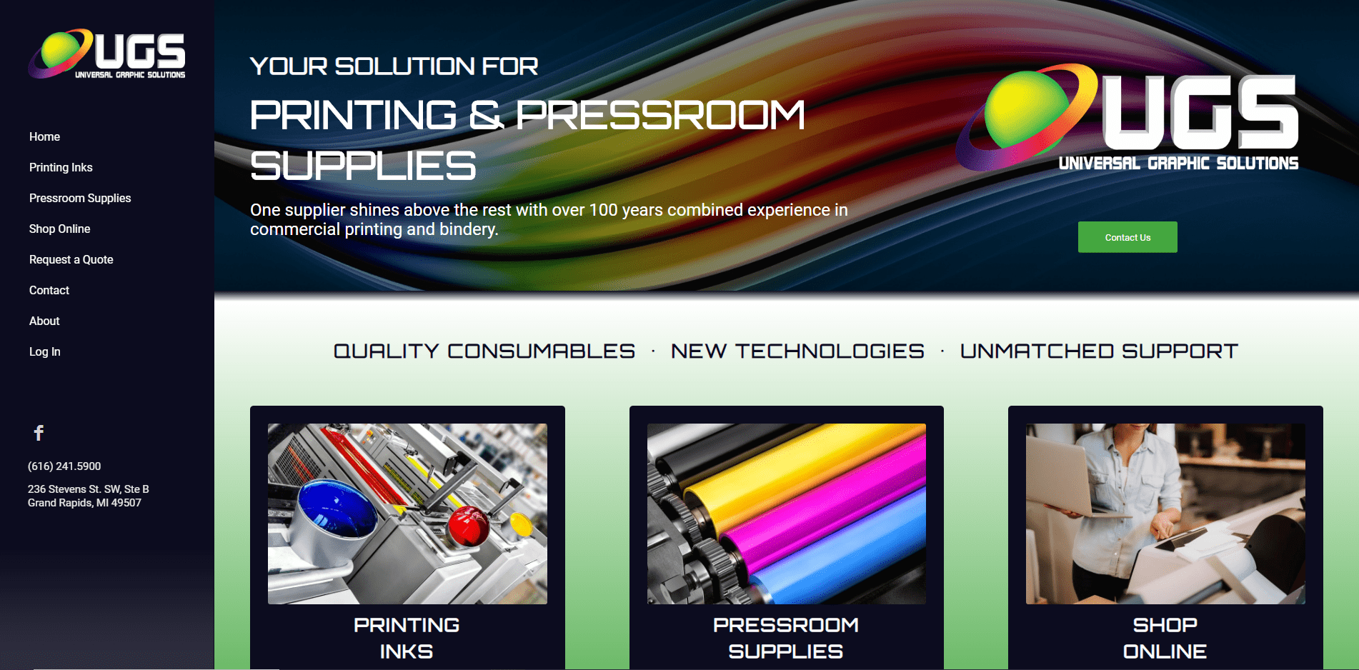 Universal Graphic Solutions Website Design by Purple Gen - Purple-Gen.com